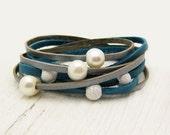 Bright Blue & Silver Pearl Leather Wrap Bracelet, Eco Friendly Wrap Bracelet, Boho Wrap Bracelet, Gladiator Wrap