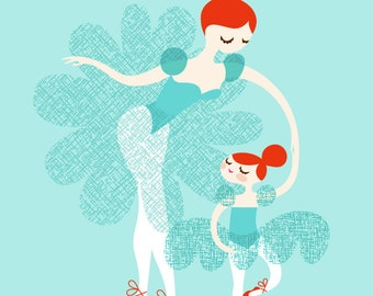 "8X10"" ballerina mother and daughter giclee print on fine art paper. light turquoise/teal blue, chili pepper/neon red, redhead. 8X10"