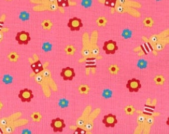 Koko Seki for Lecien, Tiny Prints, Bunnies and Flowers in Pink 40136.20 - 1 Yard Clearance