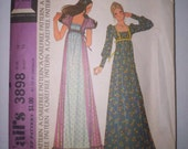 Reserved for MaryCathleen Vintage Sewing Pattern Granny Gown Hippie Princess Empire Waist Dress 14 36