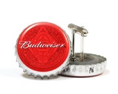 Red Budweiser Beer Bottle Cap Cuff Links Cufflinks