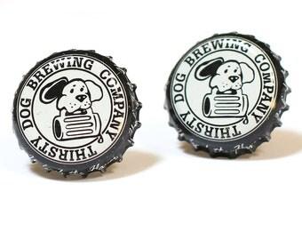 Thirsty Dog Bottle Cap Cuff Links Cufflinks