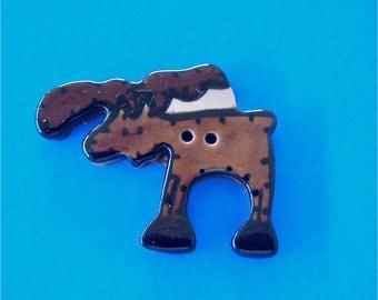 """Brown Male Moose Ceramic Button 1 3/4 """" Wide"""