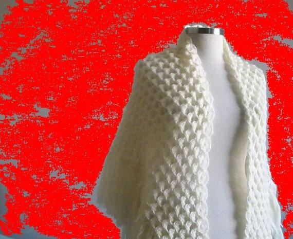 SALE Shawl SALE Different Ivory Crochet Triangle Shawl Wrap Scarf Stole Poncho, Bridal Shawl