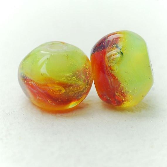 Organic lampwork boro beads set (2), earrings pair, donuts, lime, orange, amber, purple SRA