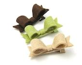 Felt Hair Clips, Woodland Set of 3 Mini Felt Bows for Girls, 2 inch Felt Bows, Brown, Green, Mushroom, Autumn Hair Clips, Fall Forest Colors
