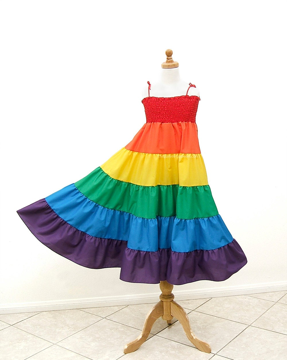 rainbow twirl dress rainbow dress size medium by mysweetiebean
