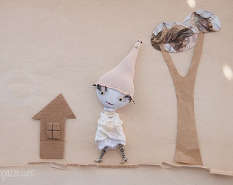 Cappuccino Gnome - Art doll brooch mixed media collage