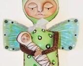 Luna Moth Art Doll - (Moth)er and Baby - Primitive Folk Art by WeeMeeWhimsies
