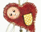 Angel Heart Ornament - Gift Tag - Folk Fiber Art - Hand Stitched and Painted - by WeeMeeWhimsies
