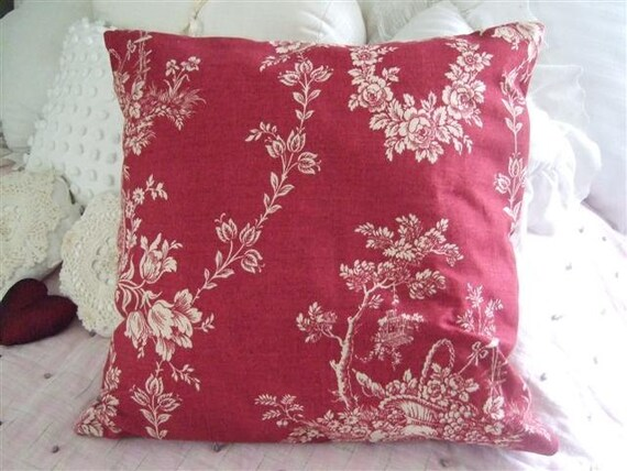Shabby chic pillow red and creme toile and burlap valentines for Toile shabby chic