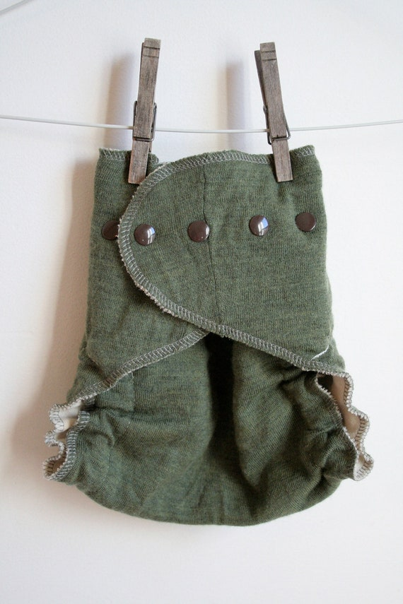 olive grey brown and gold - gender neutral diaper cover - wool - plastic free - one size - organic - nifty nappy
