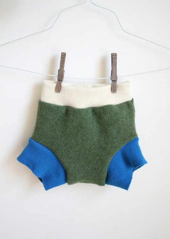 large soaker - two full layers - green and bright blue - organic interlock waistband - wool cloth diaper cover