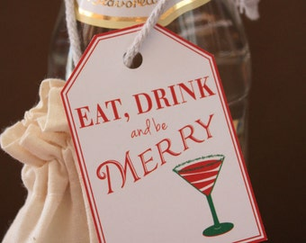 COCKTAIL MARTINI Printable Gift Tag - Eat Drink and Be Merry
