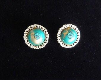Earth Water Vintage Hong Kong Clip on Earrings