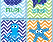 Kids Bathroom Art- Sea Creature Bathroom print set