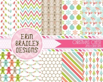 50% OFF SALE Holiday Digital Papers Personal and Commercial Use Christmas Cheer