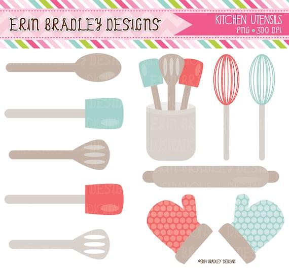 Kitchen Design Utensils: 50% OFF SALE Kitchen Clipart Commercial Use Graphics Blue
