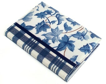 Journal Cover - Blue Ivy with Tartan - Fabric A6 Notebook, Diary, Blue and White Leaves and Checks With Satin Ribbon, Fabric Book Cover