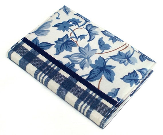 Journal Cover - Blue Ivy with Tartan - Fabric A6 Notebook, Diary - Blue and White Leaves and Checks With Satin Ribbon