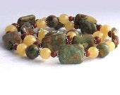 Earthy  Semi-Precious Stone Necklace - Sterling Silver with Rhyolite, Aragonite and Jasper
