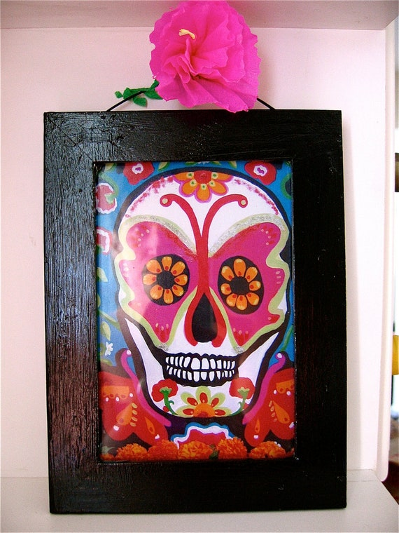 Day of the Dead Calavera (skull) Shrine- so colorful with original photograph from Hollywood Cemetery Celebration