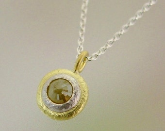 Rosecut Diamond Necklace, Rustic Pendant, 18k Gold, Sterling Silver, Diamond Gemstone Pendant In stock ready to ship