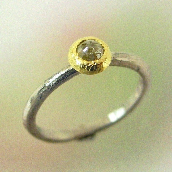 Unique Engagement Ring, Rustic Diamond Ring, Round Rose Cut Diamond, White Gold Yellow Gold, Stacking Ring, Ready to Ship