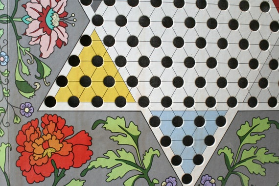 Vintage Chinese Checkers Game Board Graphic Wall Art Floral