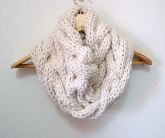 Cable Knit Infinity Scarf Pattern : Knit Cowl Infinity Scarf Hand Knit Cowl Cream Cowl Scarf