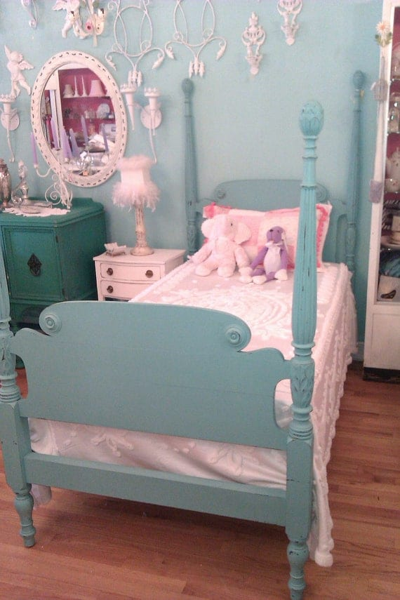 custom order twin bed frame shabby antique chic aqua turquoise blue distressed 4 post  beach cottage coastal vintage poster