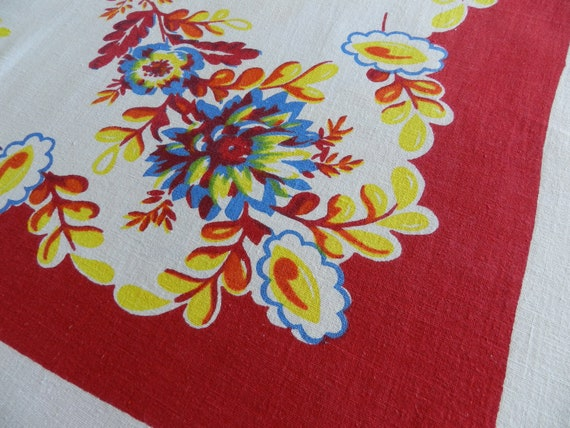 Vintage Bright Red Print Linen Tablecloth