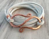 Leather Wrap Bracelet, White Suede, Hammered Copper Bracelet