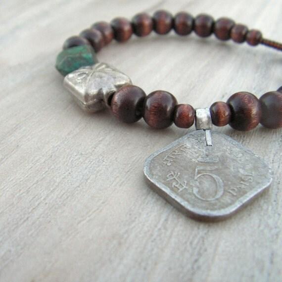 Gypsy Mala Bracelet, Wood, Coin Bracelet, Gypsy Coin Charm, Turquoise, Unisex