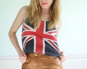 Save the Queen Vintage Early 90s Union Jack British Flag Printed Crop Top XS S