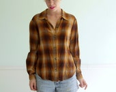 Autumn Plaid Button Down Shirt - 90s Grunge - Vintage - Long Sleeve - MEDIUM M