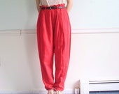 Engine Red Vintage 80s Soft Woven Double Layered Paper Bag Trousers XS S