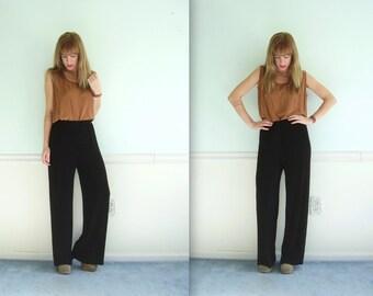 Slouchy Black 90s High Waist Nylon Trouser Pants - MEDIUM M