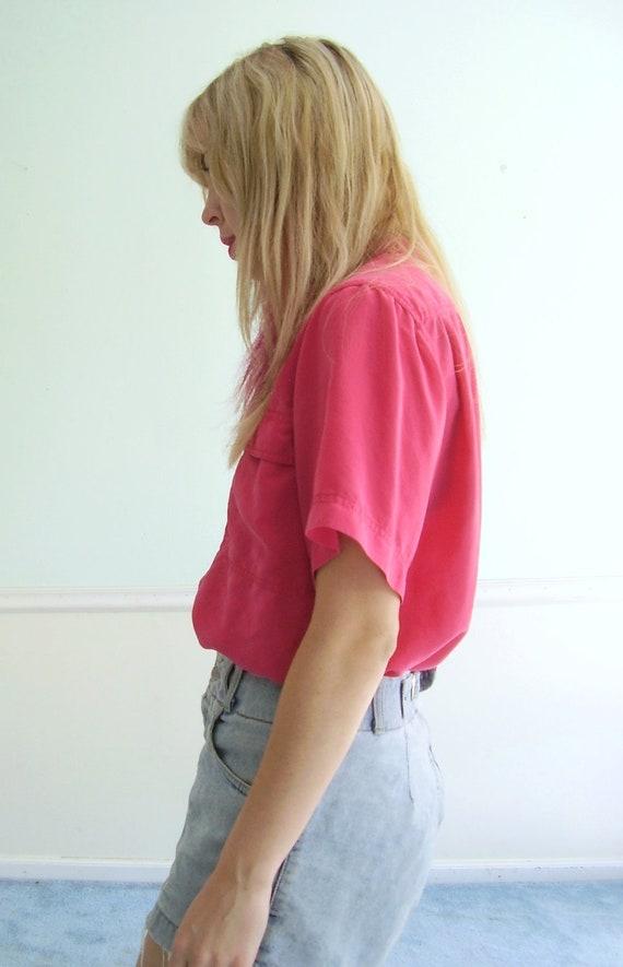 Dragonfruit Pink Silk Button Down Blouse - Vintage 80s Utility - MEDIUM M