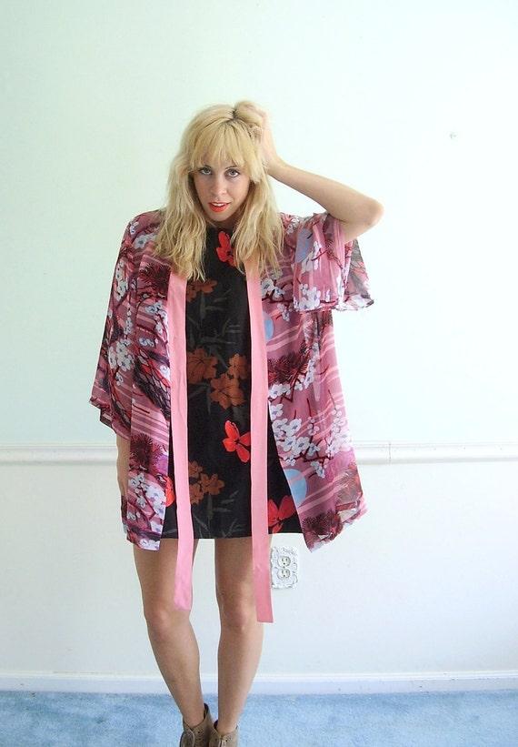 Silk Kimono Vintage 80s Pure Silk Pink Oversize Floral Asian Kimono Jacket OS OSFM