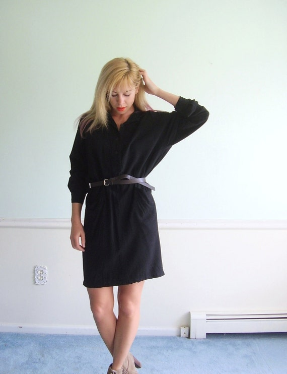 LS Woven Black Vintage 90s Button Down Sexy Fit Secretary Mini Dress SMALL MEDIUM S M