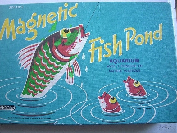 Vintage spear 39 s magnetic fish pond children 39 s game for Koi pond game online