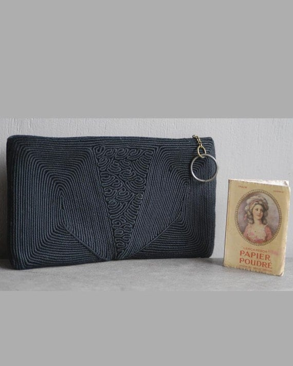 Vintage 1930s silk corded clutch