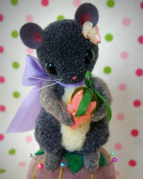 RESERVED for Kristen Sweet Strawberry Mouse Pin Cushion Handmade Folk Art Woolen Pompom Animal