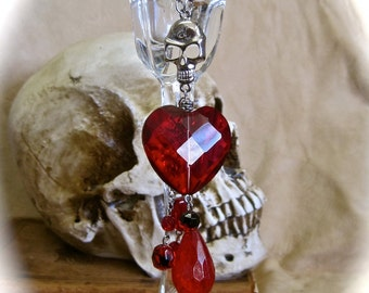 Bleeding Heart: Gothic Skull Necklace Ruby Red Faceted Heart Vintage Assemblage Valentines Day Crimson Blood Drops Vampire Goth OOAK