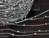 Silver Brass Chain, 1 Meter - 3.3 Feet  (2x1.5 Mm) Silver Tone Brass Soldered Chain With Ball C54  ( Z022 )
