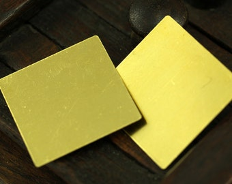 Brass Square Sheets, 10 Raw Brass Square Blanks (30mm) Brs 676 A0099