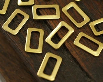 Brass Rectangle Connector, 50 Raw Brass Rectangle Connector Findings (10x6mm)  Brs 3090 L012