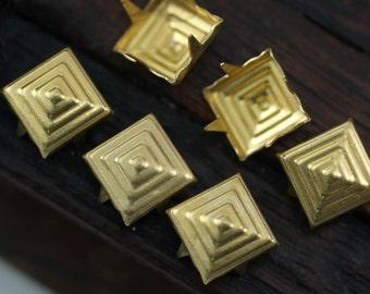 Brass Pyramid Stud, 50 Raw Brass Square Pyramid Studs,Findings (8mm) A0492