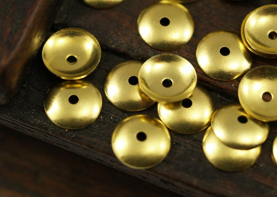 100 Pcs Raw Brass Round Middle Hole Bead Caps, Connectors, Findings, Charms  (8 Mm) Brs 101 ( A0228 )